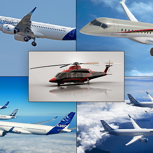 images of jets and a helicopter